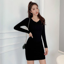 Dress Winter of 2019 Grey black white S M L XL XXL Mid length dress singleton  Long sleeves commute Crew neck middle-waisted Solid color Socket One pace skirt routine Others 18-24 years old Type H Mianxi Korean version More than 95% knitting cotton Cotton 95% polyurethane elastic fiber (spandex) 5%