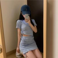 Fashion suit Summer 2021 Average size Sky blue black 18-25 years old Rain and breeze Q4407 96% and above polyester fiber Cotton 96% polyurethane elastic fiber (spandex) 4% Pure e-commerce (online only)