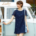 Dress Summer 2020 Dark blue S M L XL Middle-skirt singleton  Short sleeve Sweet Crew neck Loose waist Decor Socket One pace skirt Lotus leaf sleeve 30-34 years old SEELER / Sina More than 95% polyester fiber Polyester 100% Lolita