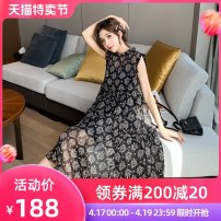 Dress Summer 2021 Black white yellow S M L XL XXL Mid length dress Two piece set Sleeveless commute stand collar Loose waist Broken flowers Socket Big swing puff sleeve Others 25-29 years old Type A Mo Wei Korean version MWLYQ2192 More than 95% Chiffon other New polyester fiber 100%