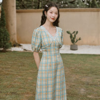 Dress Spring 2020 Light blue check S M L Mid length dress singleton  Short sleeve V-neck High waist lattice zipper Big swing puff sleeve Others 18-24 years old Type X Ink grease MZ-200405-1 More than 95% other Other 100% Pure e-commerce (online only)