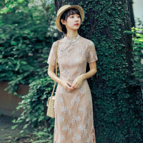 Dress Spring 2020 Apricot S M L XL Mid length dress singleton  Short sleeve commute stand collar High waist Solid color routine Others 18-24 years old Type X Ink grease Retro Lace MZ-0304-10 More than 95% Lace other Other 100%