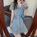 Dress Summer 2021 blue M,L,XL,2XL Short skirt singleton  Short sleeve commute V-neck middle-waisted Decor Socket Princess Dress other Others 18-24 years old Type A Retro bow More than 95% other other