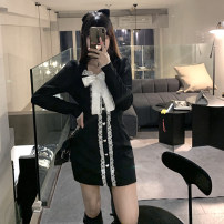 Dress Spring 2021 Light blue black S M L Short skirt singleton  Long sleeves commute square neck High waist Solid color Socket A-line skirt routine Others 18-24 years old Type A Subbaoanop / plain clothes Korean version Button 01.03.61091# 31% (inclusive) - 50% (inclusive) polyester fiber
