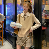 Fashion suit Winter 2020 S M L Apricot shirt + apricot Vest + check skirt blue shirt + Navy Vest + black check skirt 18-25 years old Subbaoanop / plain clothes 12.14.C63# polyester fiber Polyester 45% other 55% Pure e-commerce (online only)