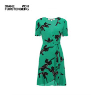 Dress Spring 2021 Cpmgn green snow leopard XS S M Short skirt singleton  Short sleeve commute Crew neck High waist Animal design Ruffle Skirt Lotus leaf sleeve 30-34 years old DIANE VON FURSTENBERG lady DVFDW4O025 More than 95% other Viscose (viscose) 100%