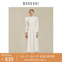 Dress Autumn 2020 White without belt green without belt blue without belt S M L XL Mid length dress singleton  Long sleeves commute stand collar Solid color Single breasted other puff sleeve 25-29 years old Type H Mordorf / Mordor court Button 2020SPY11Q More than 95% cotton Cotton 100%