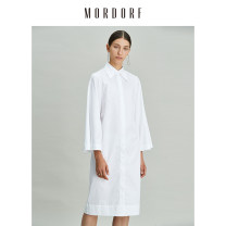 shirt white S M L XL Autumn 2020 cotton 96% and above Long sleeves commute Medium length square neck Single row multi button routine Solid color 25-29 years old Straight cylinder Mordorf / Mordor Simplicity 18Y9005C Tie button Cotton 100% Same model in shopping mall (sold online and offline)