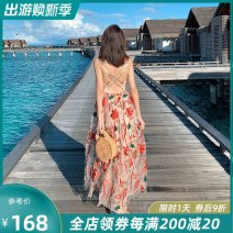 Dress Summer of 2019 Decor longuette singleton  Sleeveless commute V-neck High waist Big flower zipper A-line skirt other camisole 25-29 years old Type A Island song lady Simplicity More than 95% polyester fiber Polyester 100% Pure e-commerce (online only)