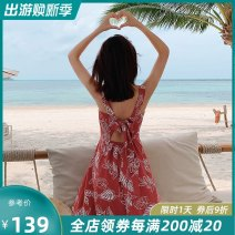 Dress Summer of 2019 Red (slightly elegant red spot) XS S M L brand original non market currency Mid length dress singleton  Sleeveless commute Crew neck High waist Decor Socket A-line skirt other straps 25-29 years old Type A Island song lady Simplicity Bow and tie print More than 95% Polyester 100%