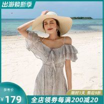 Dress Summer of 2019 silver gray XS S M L brand original non market currency longuette singleton  Short sleeve commute V-neck High waist Decor Socket Big swing Lotus leaf sleeve camisole 25-29 years old Type A Island song lady Simplicity Bow and ruffle print More than 95% polyester fiber