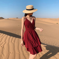 Dress Summer of 2019 claret XS S M L brand original non market currency Short skirt singleton  Sleeveless commute V-neck High waist Solid color other A-line skirt other camisole 25-29 years old Type A Island song lady Simplicity Open back bandage More than 95% polyester fiber Polyester 100%