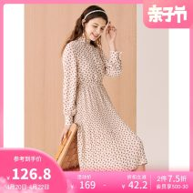 Dress Autumn 2020 S M L XL Mid length dress singleton  Long sleeves Sweet other middle-waisted Broken flowers Single breasted Pleated skirt routine 18-24 years old Type H Hot wind More than 95% other polyester fiber Polyester 100% Ruili Same model in shopping mall (sold online and offline)