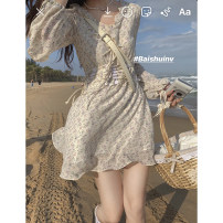 Dress Spring of 2018 Fragmentary flower a is in stock, fragmentary flower B is sold in advance for 7 days and fragmentary flower C is sold in advance for 12 days S,M,L Short skirt singleton  Long sleeves commute V-neck High waist Broken flowers other routine Others 18-24 years old Type H other