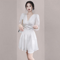 Dress Winter 2020 White long sleeves S M L XL Short skirt singleton  Long sleeves commute V-neck High waist Solid color Socket A-line skirt routine Others 25-29 years old Type A lady fold More than 95% polyester fiber Polyester 95% polyurethane elastic fiber (spandex) 5%