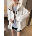 short coat Spring 2021 S M L XL White coat black coat Navy coat Long sleeves routine routine singleton  easy street Hood other 30-34 years old Jiehuina 96% and above BC202v32113p3010 polyester fiber Polyester 100% Pure e-commerce (online only)