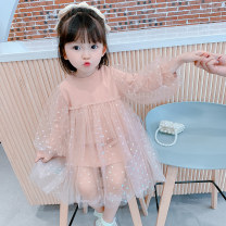 Dress female Yuguoguo 90cm 100cm 110cm 120cm 130cm 140cm Other 100% spring and autumn Korean version Long sleeves Solid color other Princess Dress Class B Spring 2021 18 months, 2 years old, 3 years old, 4 years old, 5 years old, 6 years old, 7 years old, 8 years old Chinese Mainland