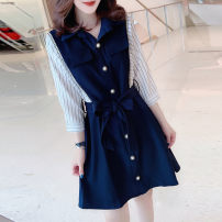 Dress Spring 2021 navy blue S M L Mid length dress singleton  Long sleeves street V-neck High waist Solid color other Others 30-34 years old Miheng B192y07261p0173a More than 95% other Other 100% Pure e-commerce (online only) Europe and America