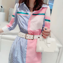 Dress Spring 2021 #Color matching S M L XL Mid length dress singleton  Long sleeves street square neck High waist other 30-34 years old Miheng B191y02197p0101 81% (inclusive) - 90% (inclusive) polyester fiber Polyester 85% polyamide 15% Pure e-commerce (online only) Europe and America