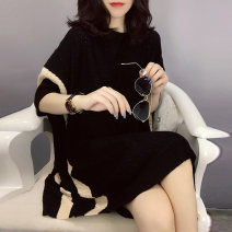 Dress Autumn 2020 black S M L Mid length dress singleton  elbow sleeve street Crew neck Loose waist 30-34 years old Miheng 81% (inclusive) - 90% (inclusive) polyester fiber Polyester 85% polyurethane elastic fiber (spandex) 15% Pure e-commerce (online only) Europe and America