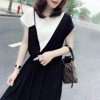 Dress Summer 2021 Black red green blue black dot blue dot print black stripe red stripe white S M L XL longuette singleton  Short sleeve street Crew neck High waist Solid color other routine Others 30-34 years old Miheng BB201v10319p0130 81% (inclusive) - 90% (inclusive) polyester fiber
