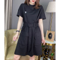 Dress Summer 2021 black S M L XL Middle-skirt singleton  Short sleeve street Crew neck High waist Solid color other A-line skirt routine Others 30-34 years old Miheng More than 95% other Other 100% Pure e-commerce (online only) Europe and America
