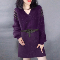 Dress Winter 2020 violet S M L Mid length dress singleton  Long sleeves street V-neck High waist Solid color Socket other other Others 30-34 years old Type H Miheng B194y10896p0180 81% (inclusive) - 90% (inclusive) polyester fiber Polyester 85% polyamide 15% Europe and America