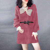 Dress Winter of 2019 Watermelon red S M L Mid length dress singleton  Long sleeves street V-neck High waist Solid color routine Others 30-34 years old Miheng B194y10992p0145 81% (inclusive) - 90% (inclusive) polyester fiber Polyester 85% polyamide 15% Pure e-commerce (online only) Europe and America