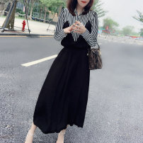 Dress Autumn 2020 black S M L longuette singleton  Long sleeves street middle-waisted 30-34 years old Miheng B193y08216p0130 30% and below nylon New polyester 85% polyamide 15% Pure e-commerce (online only) Europe and America