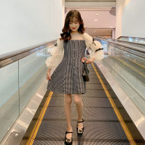 Dress female Mu an Mu 120cm 130cm 140cm 150cm 160cm 170cm Other 100% summer lady Long sleeves lattice other A-line skirt Class B Spring 2021 5 years old, 6 years old, 7 years old, 8 years old, 9 years old, 10 years old, 11 years old, 12 years old, 13 years old, 14 years old Chinese Mainland
