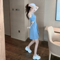 Dress Summer 2021 Picture color {denim skirt} S M L Short skirt singleton  Sleeveless commute square neck middle-waisted Solid color Socket straps 18-24 years old Type A Mambina Retro Hollowing out Q024 More than 95% Denim other Other 100%