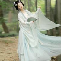 Hanfu 96% and above Autumn 2020 Fu Zhu printed light green big sleeve shirt + Top + sling + 4.5m one piece skirt Fu Zhu printed white big sleeve shirt + Top + sling + 4.5m one piece skirt XS S M L XL polyester fiber