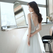 Dress / evening wear Weddings, adulthood parties, company annual meetings, daily appointments XS S M L customized contact customer service (no return) White + Chest Patch grace Medium length middle-waisted Spring 2021 Fluffy skirt Sling type zipper 18-25 years old MJ20090 Sleeveless Nail bead Mujing
