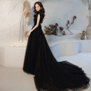 Dress / evening wear The company's annual convention performs daily appointments S ml XL 2XL customized contact customer service (no return) black fashion longuette middle-waisted Winter 2020 Trailing Hanging neck style Bandage 18-25 years old Sleeveless Solid color Mujing other Other 100% other