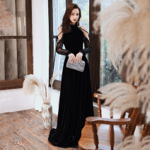 Dress / evening wear Wedding adult party company annual meeting performance Customized s ml XL 2XL 129 Black Slim Fit Korean version longuette middle-waisted Winter of 2019 Fall to the ground Hanging neck style zipper 18-25 years old MJ19129 Sleeveless flower Solid color Mujing other Other 100% other