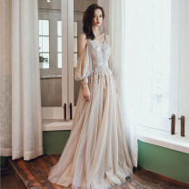 Dress / evening wear Wedding adult party company annual meeting performance Korean version longuette middle-waisted Winter of 2019 Trailing Sling type Bandage 18-25 years old Long sleeves flower Decor Mujing other Other 100% Pure e-commerce (online only) other Non handmade flower