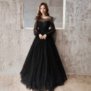 Dress / evening wear Company annual meeting performance Korean version longuette middle-waisted Winter of 2019 Fall to the ground U-neck Bandage 18-25 years old Long sleeves flower Solid color Mujing other Other 100% Pure e-commerce (online only) other Non handmade flower
