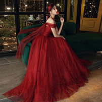 Dress / evening wear Weddings, adulthood parties, company annual meetings, daily appointments Customized contact customer service (no return) s ml XL 2XL claret fashion longuette middle-waisted Autumn 2020 Fall to the ground Single shoulder type Bandage 18-25 years old Nail bead Solid color Mujing