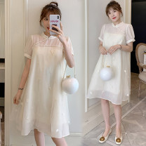 Dress You Qing Apricot M L XL XXL large 3XL large 4XL Korean version Short sleeve have more cash than can be accounted for summer stand collar Solid color