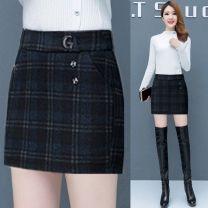 skirt Winter 2020 S 26 -- 80-90 Jin, m 27 -- 90-100 Jin, l 28 -- 100-110 Jin, XL 29 -- 110-120 Jin, 2XL 30 -- 120-130 Jin, 3XL 31 -- 130-145 Jin, 4XL 32 -- 145-160 Jin Black picture color Short skirt High waist skirt Other / other Button, check