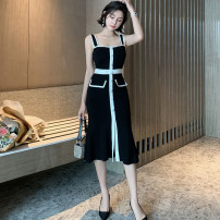 Dress Summer 2020 black S M L Mid length dress singleton  Sleeveless commute One word collar High waist Solid color Socket One pace skirt other camisole 25-29 years old Type A RUUHEE Retro Splicing More than 95% polyester fiber Other polyester 95% 5% Pure e-commerce (online only)