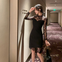 Dress Autumn 2020 black S M L Short skirt singleton  Long sleeves commute Crew neck High waist Solid color zipper One pace skirt routine Others 25-29 years old Type H RUUHEE Retro Lace R3434 More than 95% Lace polyester fiber Other polyester 95% 5% Pure e-commerce (online only)