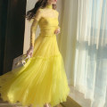 Dress Autumn 2020 yellow S M L longuette singleton  Long sleeves commute High collar High waist Solid color Socket Big swing routine Others 18-24 years old RUUHEE Splicing R4388 More than 95% polyester fiber Other polyester 95% 5% Pure e-commerce (online only)