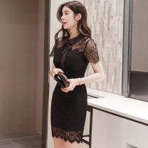Dress Summer 2020 black S M L XL XXL Short skirt singleton  Short sleeve commute Doll Collar High waist Solid color zipper One pace skirt routine Others 25-29 years old Type H RUUHEE Lace R3053 More than 95% polyester fiber Other polyester 95% 5% Pure e-commerce (online only)
