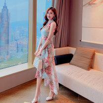 cheongsam Summer 2021 S M L XL blue Sleeveless long cheongsam grace Low slit daily double-breasted  Decor 25-35 years old FB4045 Elori polyester fiber Polyester 100% Pure e-commerce (online only) 96% and above