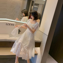 Dress Summer 2021 white S M L longuette singleton  Short sleeve commute square neck High waist Dot zipper Ruffle Skirt Lotus leaf sleeve Others 25-29 years old Type H Elori lady Ruffle zipper H3864 More than 95% polyester fiber Polyester 100% Pure e-commerce (online only)