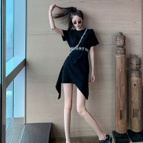 Dress Spring 2021 Black and white S M L longuette singleton  Short sleeve commute Crew neck High waist Solid color Socket Irregular skirt routine 18-24 years old Type A Begonia dream Korean version Splicing 426 6707 * 43, 4th floor, daxihao More than 95% brocade other Other 100%