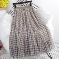 skirt Spring 2021 Average size Cyan Khaki black longuette commute High waist A-line skirt lattice Type A 18-24 years old HP99951 More than 95% other Paintings other Pleated mesh splicing Korean version Other 100% Same model in shopping mall (sold online and offline)