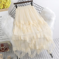 skirt Spring 2021 Average size Brown apricot black longuette gorgeous High waist Irregular Solid color Type A 18-24 years old other Paintings Gauze Exclusive payment of tmall 181g / m ^ 2 (including) - 200g / m ^ 2 (including)