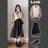 Women's large Autumn 2020 S M L XL Dress Two piece set Sweet easy moderate Long sleeves lattice Polo collar routine other printing and dyeing shirt sleeve Fuyi 18-24 years old Button 71% (inclusive) - 80% (inclusive) Medium length Other 100% Exclusive payment of tmall Irregular skirt college